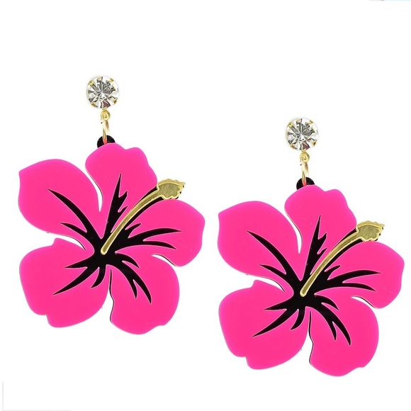 Jewelry Pink Hibiscus Acrylic Earrings Poshmark